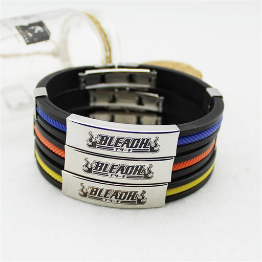 Bleach Ichigo Manga Burning Logo Title Cool Steel Bracelet Wristband - Konoha Stuff - 1