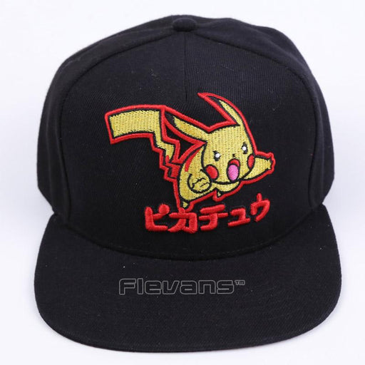 Cartoon Pokemon Cute Lovely Pikachu All Black Baseball Cap
