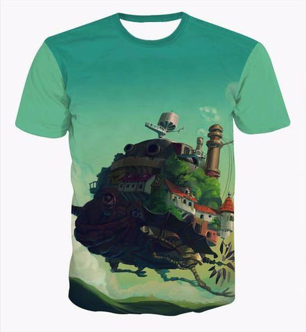 Castle in the Sky Classic Anime Howl Moving Castle Green T-shirt - Konoha Stuff - 1