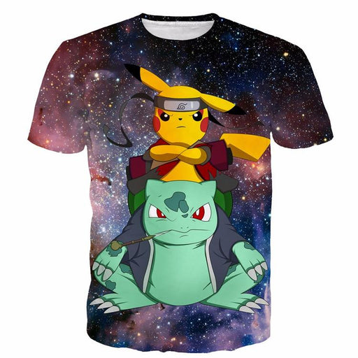 Cool Anime Pikachu Bulbasaur Combination Pikoto Galaxy Space 3D T-shirt - Konoha Stuff