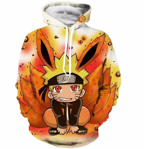 Cute Kid Kurama Nine Tails Teen Naruto Red Orange Graphic Hoodie - Konoha Stuff