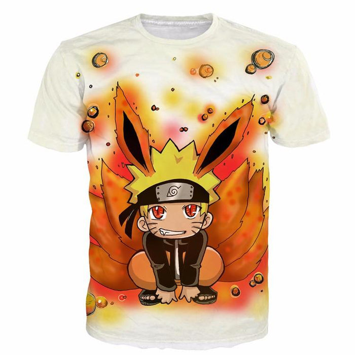 Cute Kid Kurama Nine Tails Teen Naruto Red Orange Graphic T-Shirt - Konoha Stuff