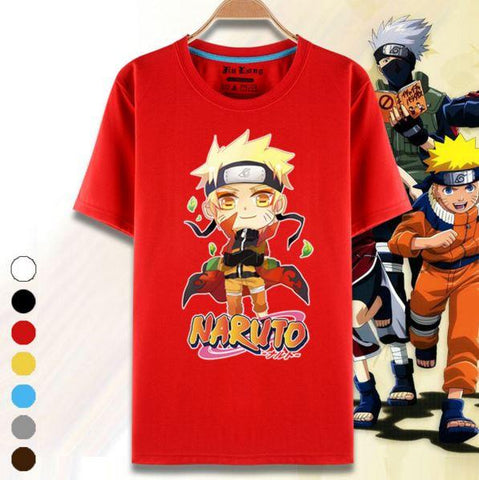 Cute Naruto Uzumaki Short Sleeves 7 Colors Unisex T-Shirt - Konoha Stuff