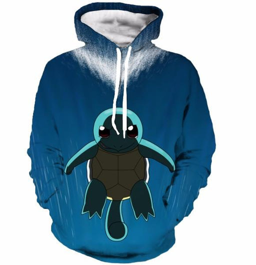 Cute Sad Squirtle Turtle Pokemon Go Blue Sea Water 3D Hoodie - Konoha Stuff