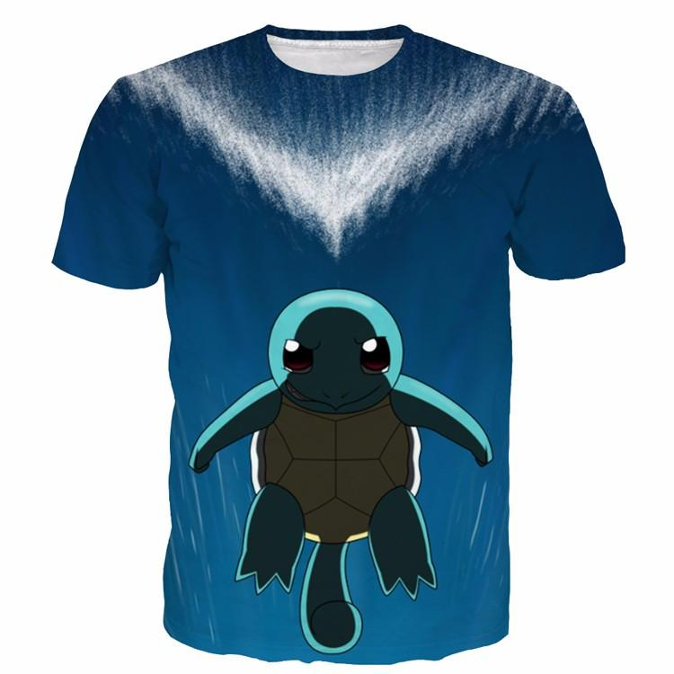 Cute Sad Squirtle Turtle Pokemon Go Blue Sea Water 3D T-shirt - Konoha Stuff - 1