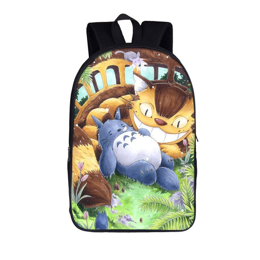 Cute Sleeping Totoro Smiling Catbus In Field Backpack