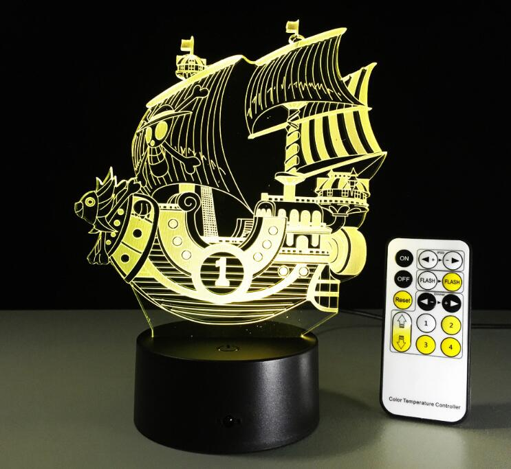 One Piece Thousand Sunny Color Changing 3D Illusion Acrylic Lamp
