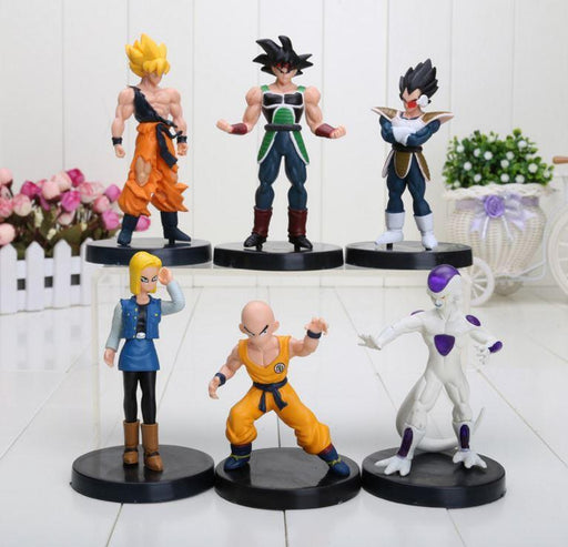 DBZ Figure Set 6pcs 5' Goku Bardock Vegeta Android 18 Krillin Frieza - Saiyan Stuff