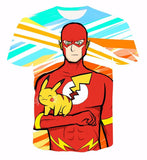 DC Comics The Flash Meets  Cute Pikachu Character from Pokemon 3D T-Shirt - Konoha Stuff - 1