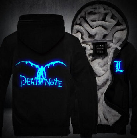 Death Note Anime Luminous Winter All Black Fashion Coat Hooded Jacket - Konoha Stuff