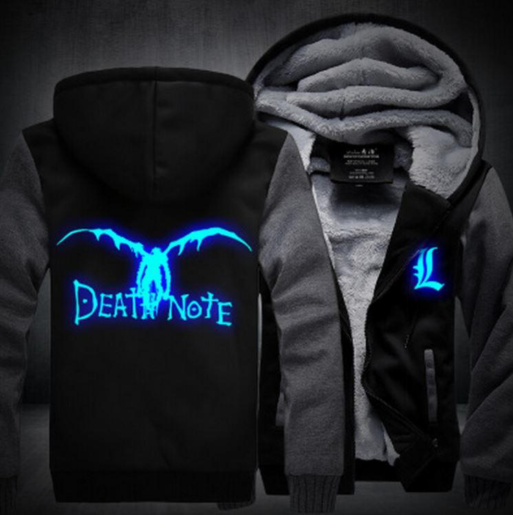 Death Note Anime Luminous Winter Black Grey Fashion Coat Hooded Jacket - Konoha Stuff