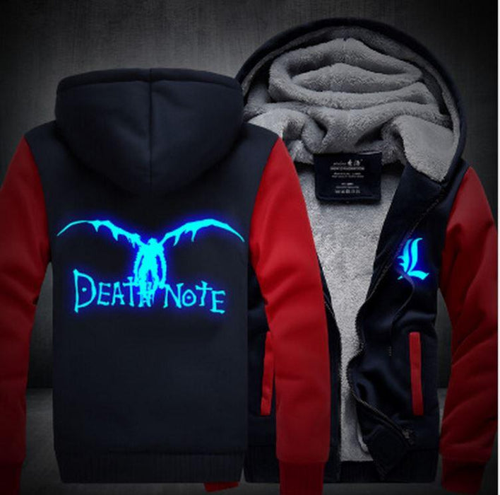 Death Note Anime Luminous Winter Navy Red Fashion Coat Hooded Jacket - Konoha Stuff