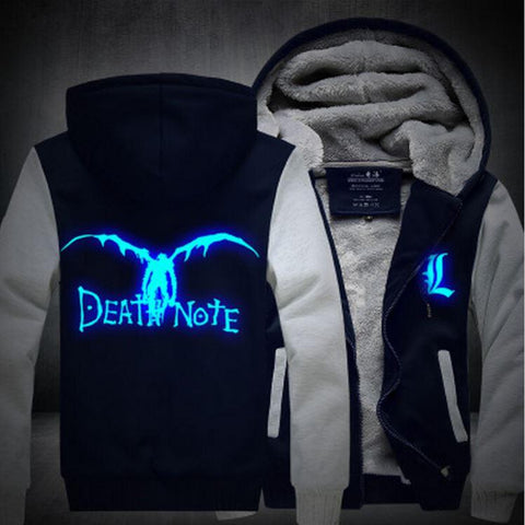 Death Note Anime Luminous Winter Navy White Fashion Coat Hooded Jacket - Konoha Stuff