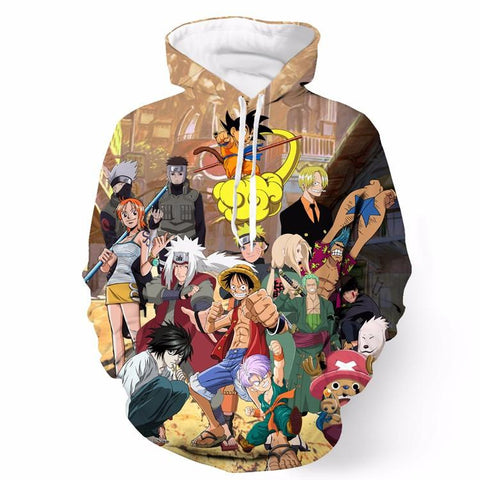 Death Note Naruto One Piece Dragonball Anime Characters Cool Hoodie - Konoha Stuff - 1