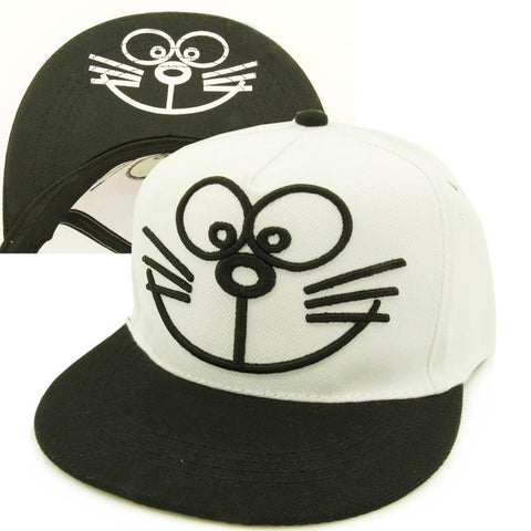 Doraemon Anime Cute Embroidery Black White Hip Hop Hat Cap Snapback - Konoha Stuff