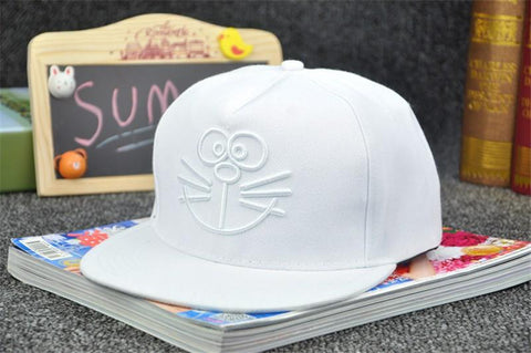 Doraemon Anime Cute Embroidery White Hip Hop Hat Cap Snapback - Konoha Stuff