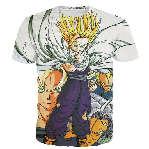 10a961acea0b Dragon Ball Teen Gohan Super Saiyan Goku Vegeta Trunks Super Style T-Shirt