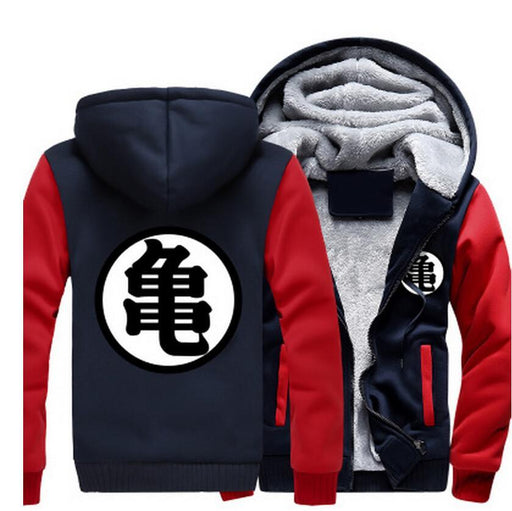 Dragon Ball Master Roshi Kanji Symbol Red Navy Zipper Hooded Jacket - Saiyan Stuff