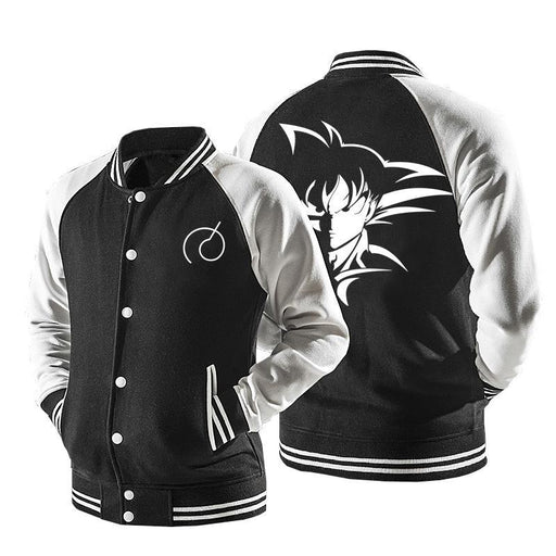 Dragon Ball Son Goku Black And White Baseball Varsity Jacket