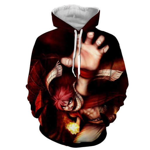Fairy Tail Anime Natsu Fire Dragon Iron Fist 3D Art Hoodie