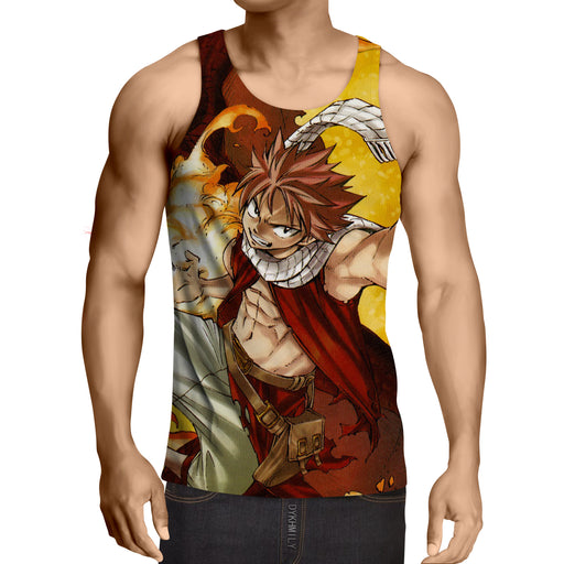 Fairy Tail Anime Natsu Fire Dragon Iron Fist Orange Tank Top