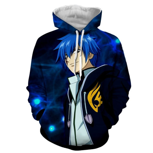 Fairy Tail Cool Jellal Fernandes Charming Smile Blue Hoodie