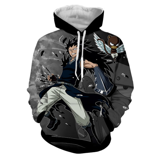 Fairy Tail Gajeel Redfox Brown Panther Lily Black Hoodie