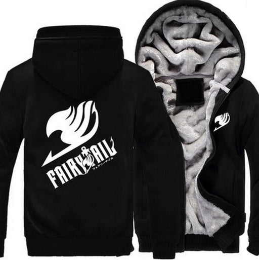 Fairy Tail Guild Logo Symbol Natsu Dragneel All Black Zipper Hooded Jacket - Konoha Stuff