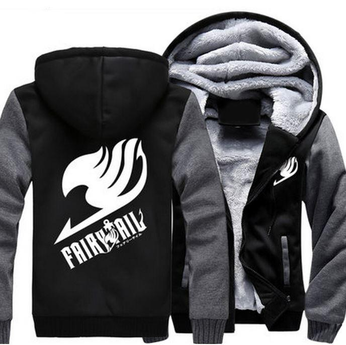 Fairy Tail Guild Logo Symbol Natsu Dragneel Gray Black Zipper Hooded Jacket - Konoha Stuff