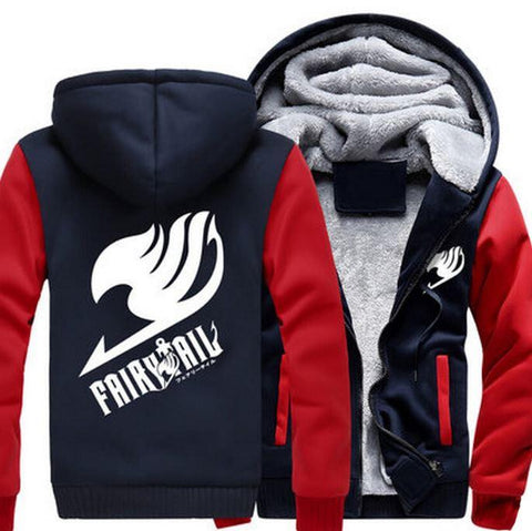Fairy Tail Guild Logo Symbol Natsu Dragneel Red Navy Zipper Hooded Jacket - Konoha Stuff