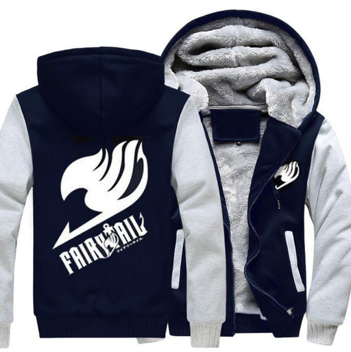 Fairy Tail Guild Logo Symbol Natsu Dragneel White Navy Zipper Hooded Jacket - Konoha Stuff