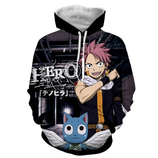 Fairy Tail Hero Natsu And Happy Cheerful Smile Black Hoodie