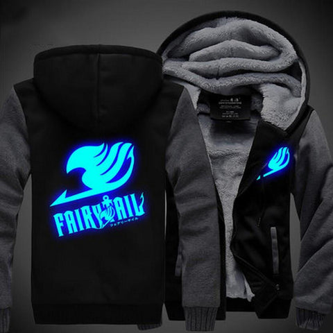 Fairy Tail Logo Cosplay Blue Luminous Gray Black Vest Hooded Jacket - Konoha Stuff
