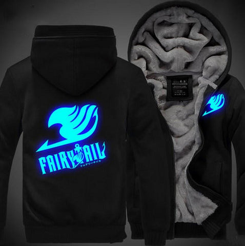 Fairy Tail Logo Cosplay Blue Luminous Vest Black Hooded Jacket - Konoha Stuff