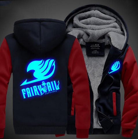 Fairy Tail Logo Cosplay Blue Luminous Vest Red Navy Hooded Jacket - Konoha Stuff