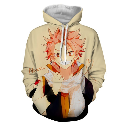 Fairy Tail Natsu Charming Smile Heart String Beige Hoodie