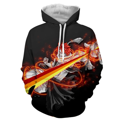 Fairy Tail Natsu Dragneel Majestic Orange String Black Hoodie