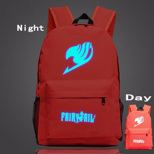 Fairy Tail Symbol Red Fire Glowing Luminous School Trendy Design Backpack - Konoha Stuff