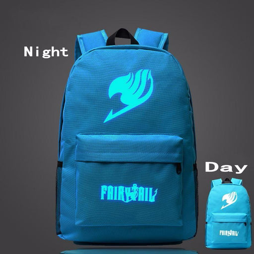 Fairy Tail Symbol Sky Blue Luminous School Trendy Design Backpack - Konoha Stuff