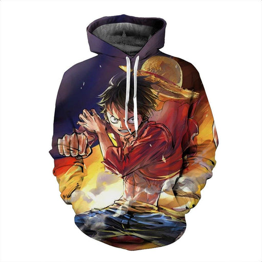 Famous Monkey D. Luffy Fantasy One Piece Power Up Cool Dope Hoodie - Konoha Stuff