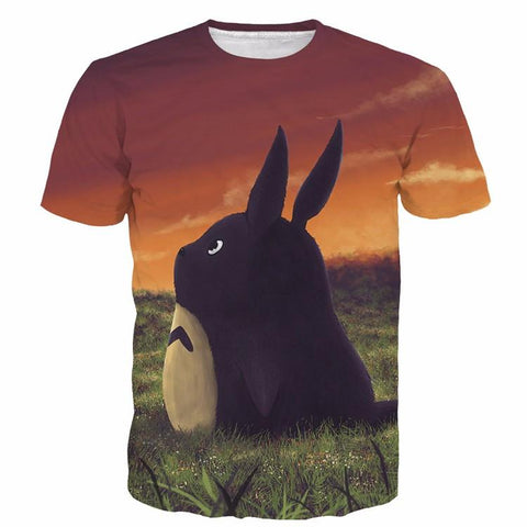 Fantasy Anime My Neighbor Totoro Sunset Grass Cute 3D T-Shirt - Konoha Stuff
