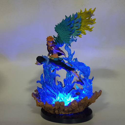 One Piece Marco The Phoenix Blue Flame DIY 3D LED Light Lamp