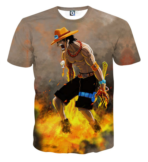 Flamming Ace One Piece Super Angry Impressive T-shirt