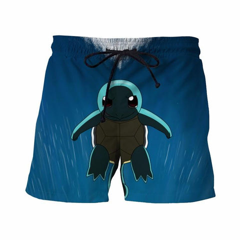 Funny Pokemon Go Squirtle Turtle Water Sea Blue 3D Cool Summer Shorts - Konoha Stuff