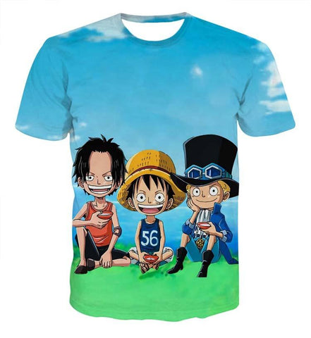 Funny Team Ace Luffy Zoro One Piece Blue Sky Full Print 3D T-shirt - Konoha Stuff - 1
