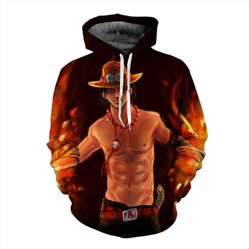 Funny One Piece Fiery D. Ace Cool Art Style Full Print 3D Design Hoodie - Konoha Stuff