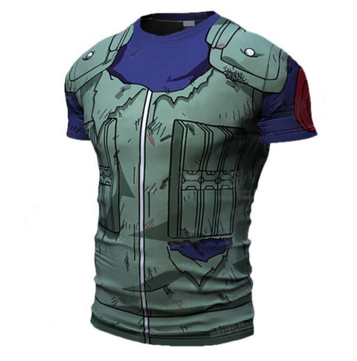 Kakashi Hatake Konoha Damaged Green Flak Jacket 3D Workout T-shirt - Konoha Stuff