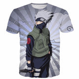 Kakashi Hatake Naruto Anime Stripes Vintage Grey Clouds 3D T-Shirt - Konoha Stuff