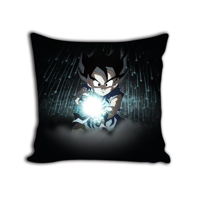 Kid Goku Kamehameha Attack Dark Black HD Print Decorative Throw Pillow