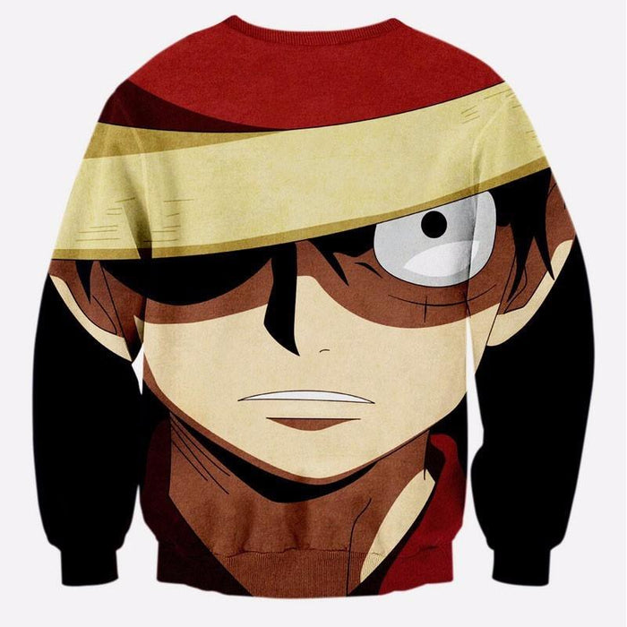 Monkey D. Luffy Face One Piece Manga 3D Dope Crewneck Sweater - Konoha Stuff